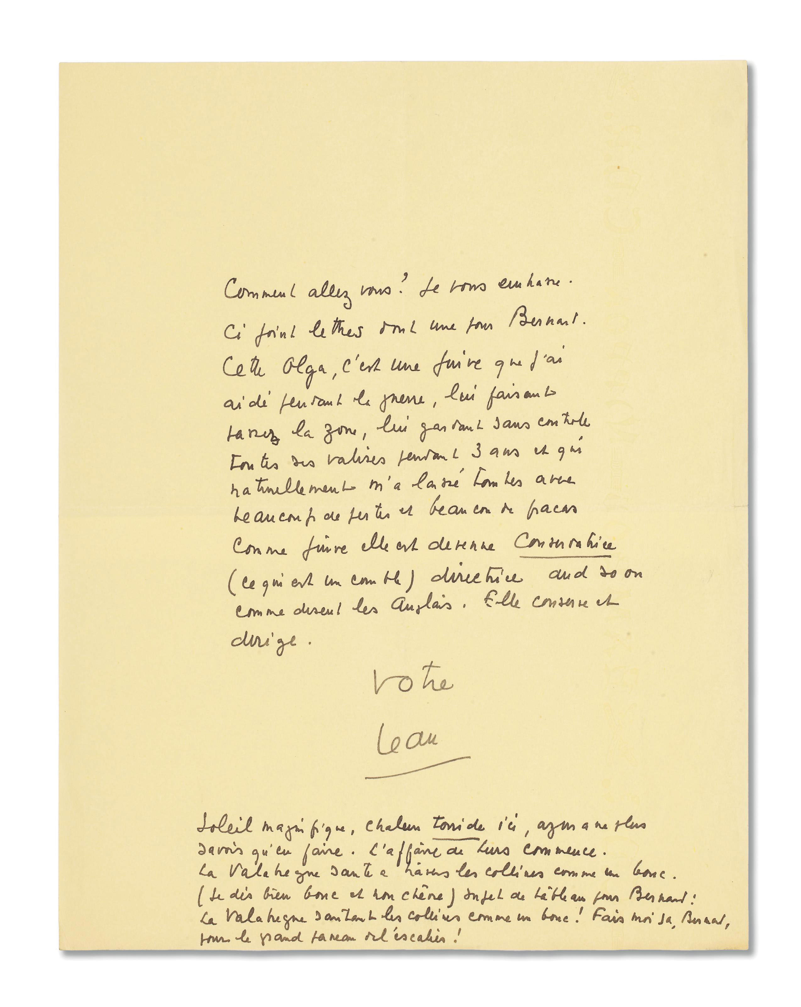 GIONO, Jean (1895-1970). Lettre autographe signée « votre Jean » à un destinataire non identifié.
