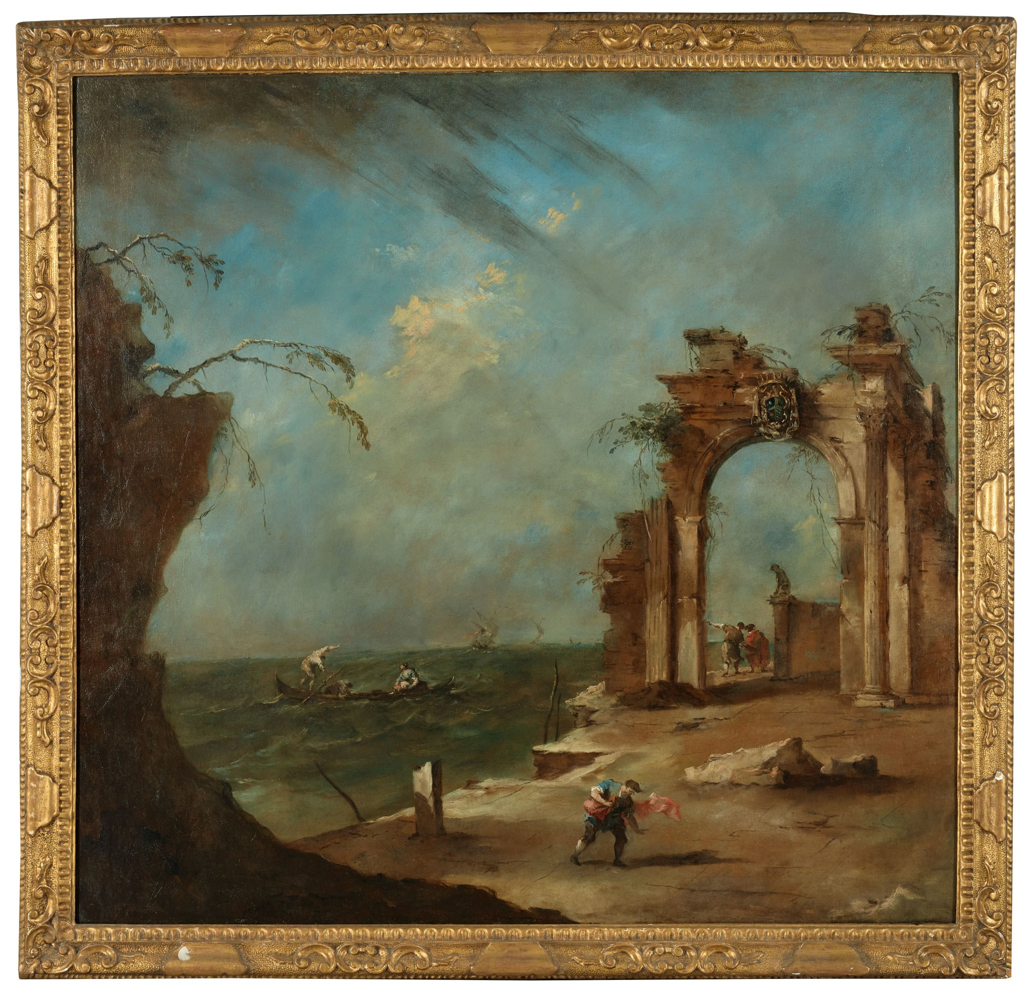 Francesco Guardi (1712-1793), A whim with a ruined arch on the lagoon. Oil on canvas. 133 x 138.5  cm (52⅜ x 54½  in). Estimate for pair €300,000-500,000. Offered in Commander Paul-Louis Weiller, Captain of industry, protector of the arts on 15 September 2020 at Christie's in Paris