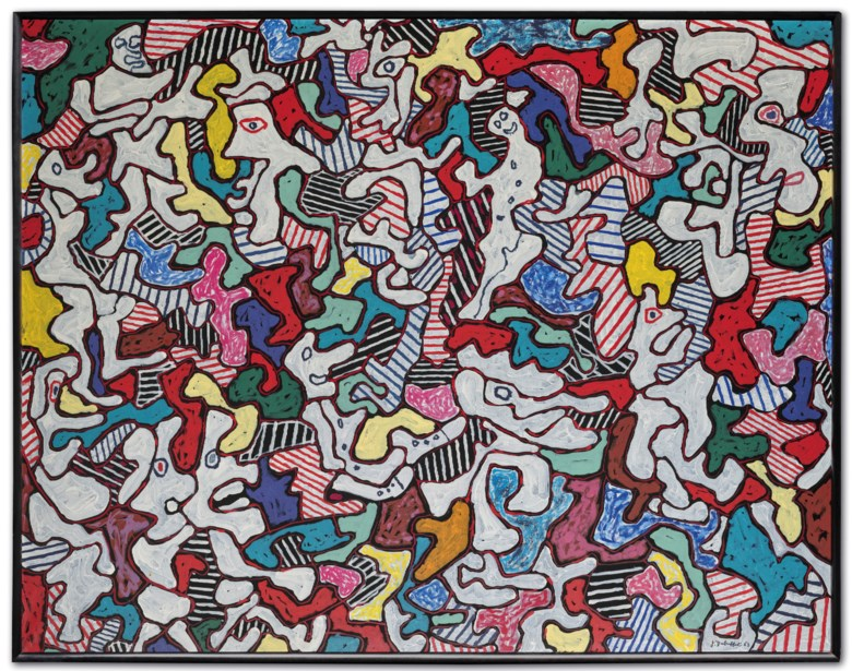 Jean Dubuffet (1901-1985), Pourlèche fiston, 1963. Oil on canvas. 45 x 57⅝  in (114.3 x 146.5  cm). Sold for €6,528,500 in ONE A Global Sale of the 20th Century on 10 July 2020 at Christie's in Paris. © 2020 Artists Rights Society (ARS), New York  ADAGP, Paris