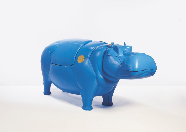 François-Xavier Lalanne (1927-2008), Hippopotame I, 1998 . Blue laminated moulded polyester resin and brass. 49⅝ x 111½ x 34⅝ in (126 x 283 x 88 cm), closed. Estimate €800,000-1,200,000. Offered in  ONE A Global Sale of the 20th Century on 10 July 2020 at Christie's in Paris