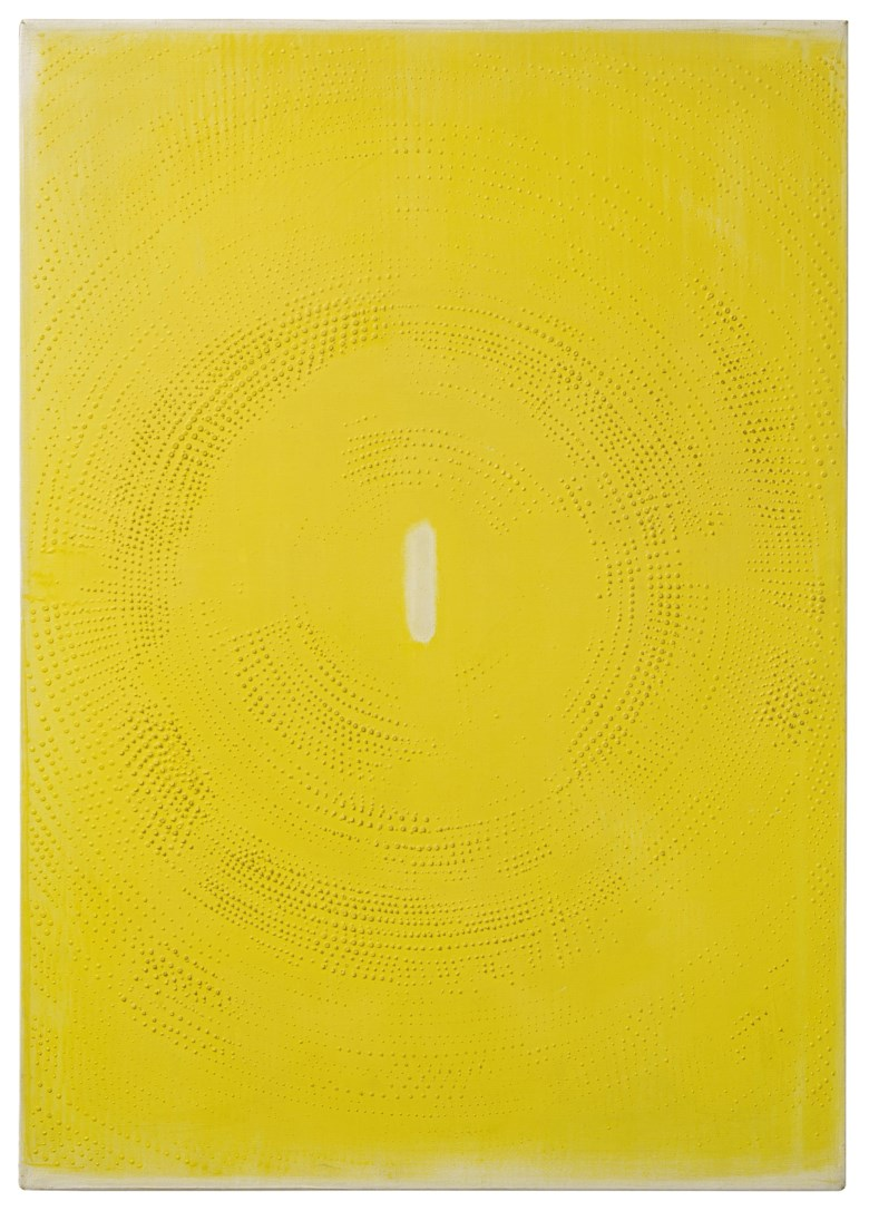 Otto Piene (1928-2014), La Force Pure (Gelbes Rasterbild), 1959. Oil on canvas. 96.5 x 68.5 cm. Estimate €200,000-300,000. Offered in Post-War and Contemporary Art Amsterdam, until 27 May 2021 at Christie's Online