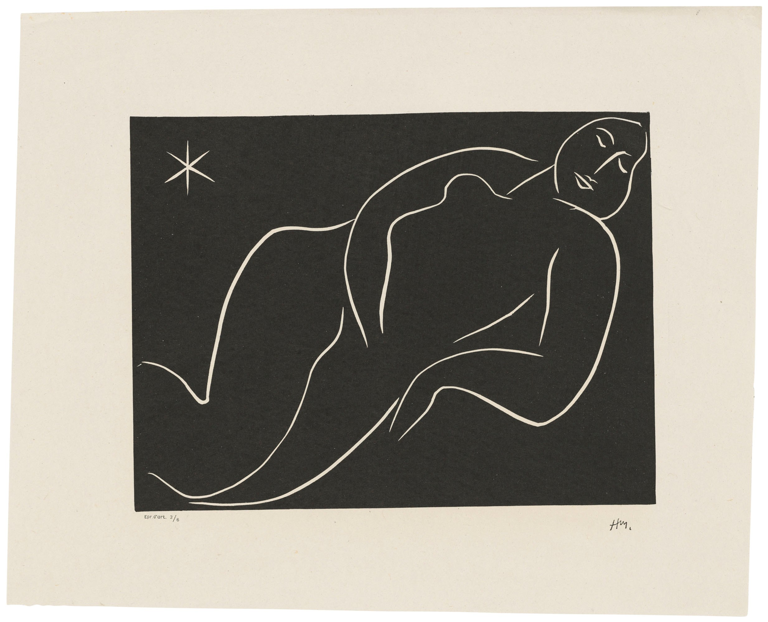 Henri Matisse (1869-1954), Nu à l'étoile, 1938. Linocut, on China paper. Block 234 x 311 mm. Sheet 357 x 445 mm. Estimate £9,000-12,000. Offered in Prints & Multiples on 31 March 2021 at Christie's Online