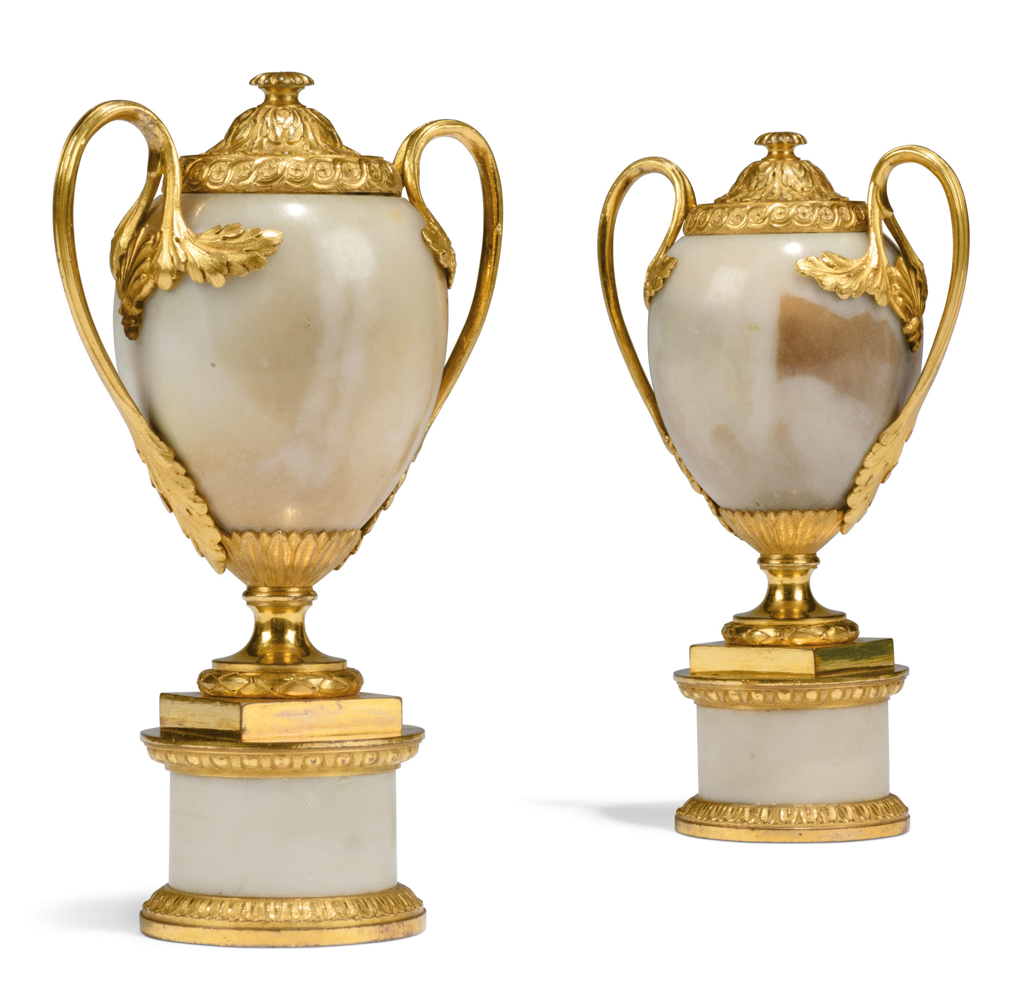 A PAIR OF GEORGE III ORMOLU-MOUNTED WHITE MARBLE CANDLE VASES