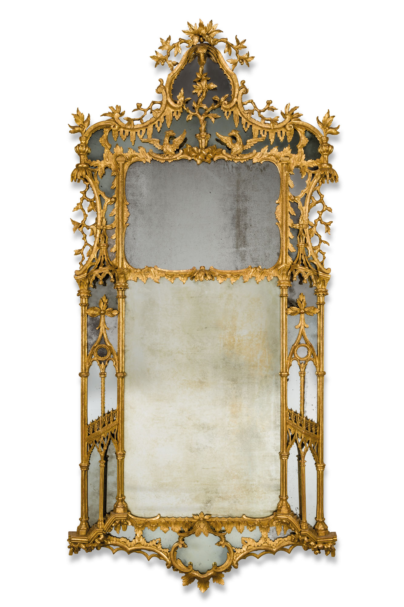 A George III giltwood pier mirror, circa 1765. 94 x 44 in (239 x 112 cm). Estimate £20,000-30,000. Offered in Apter-Fredericks 75 Years of Important English Furniture on 19 January at Christie's in London