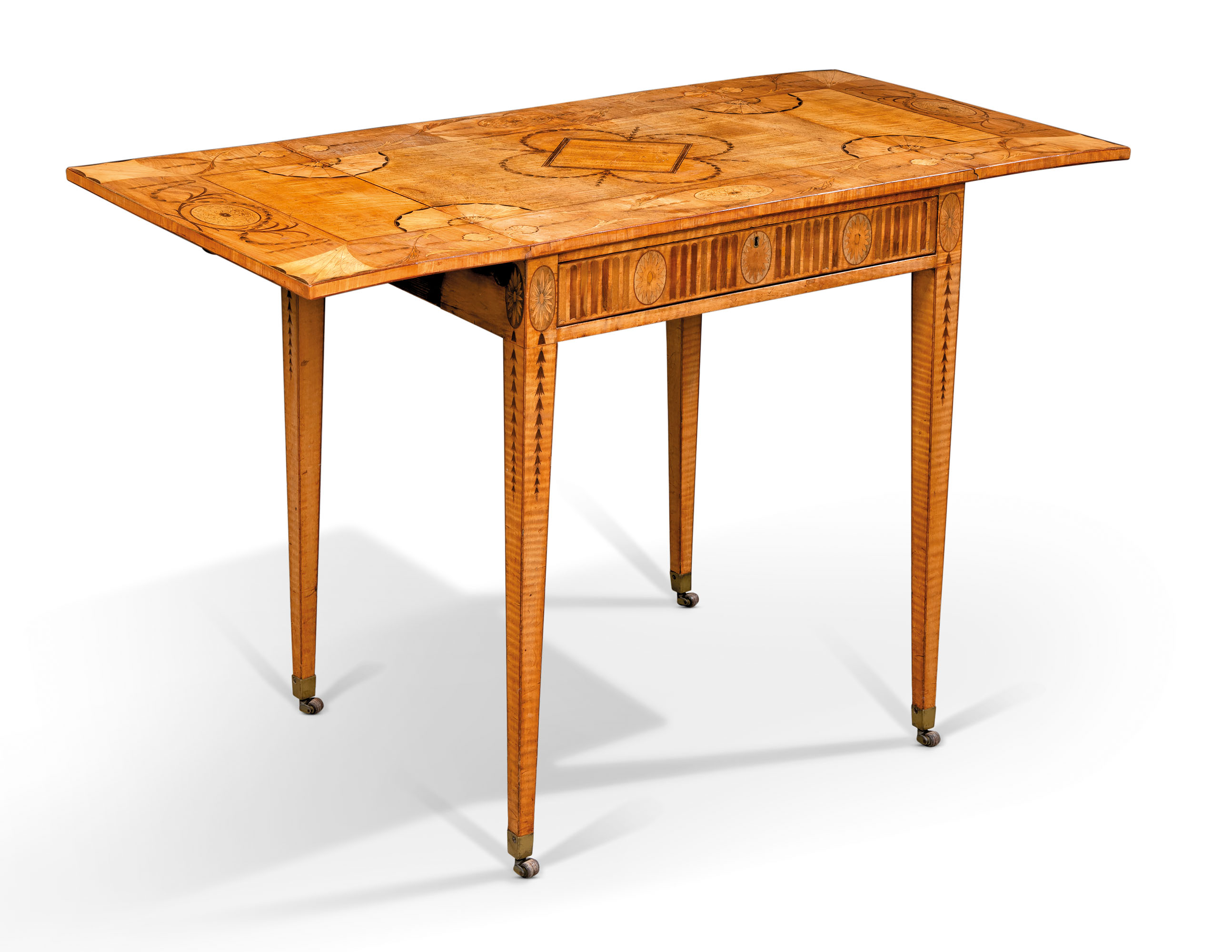 A GEORGE III SYCAMORE, SATINWOOD AND FRUITWOOD MARQUETRY PEMBROKE TABLE