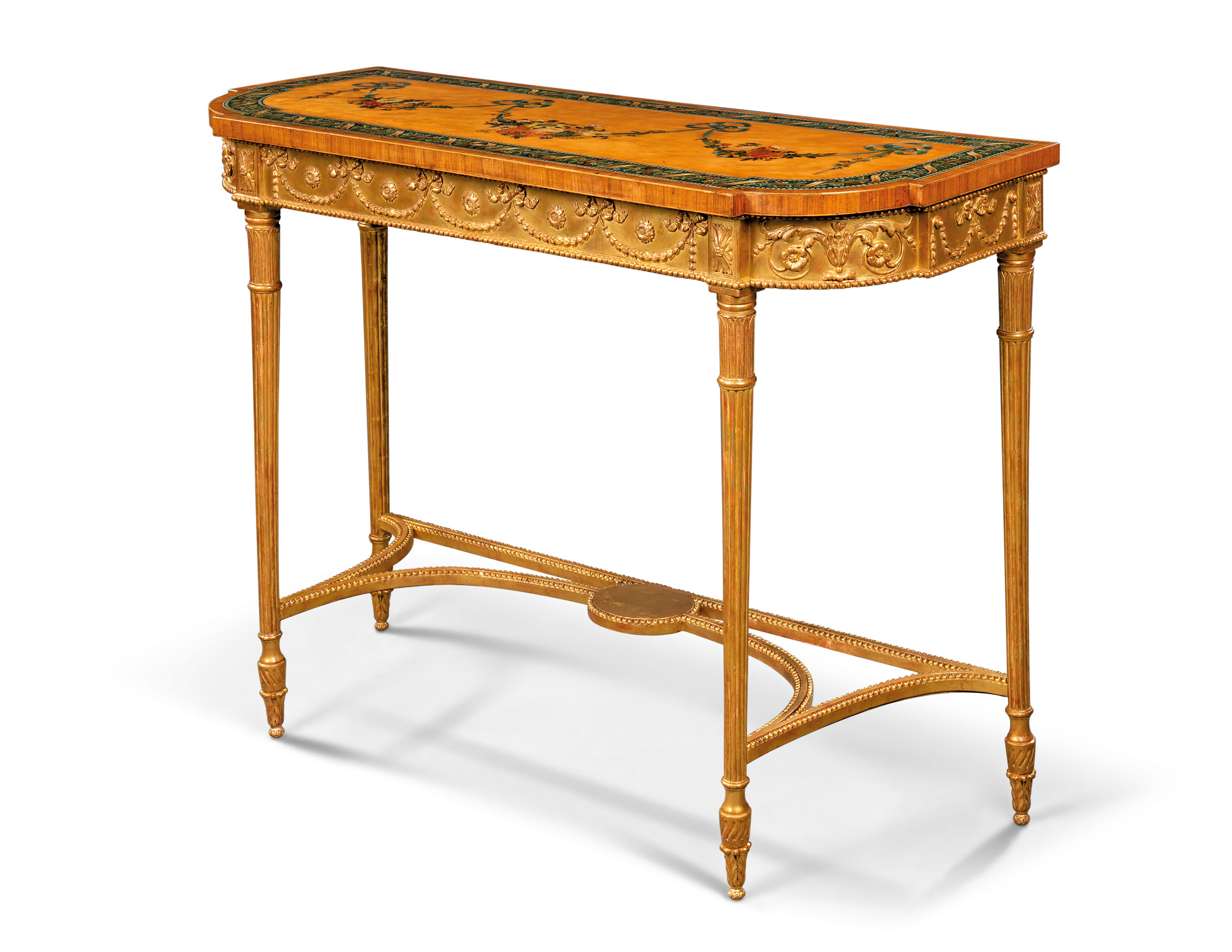 A GEORGE III POLYCHROME-PAINTED, SATINWOOD, TULIPWOOD-CROSSBANDED AND PARCEL-GILT SIDE TABLE