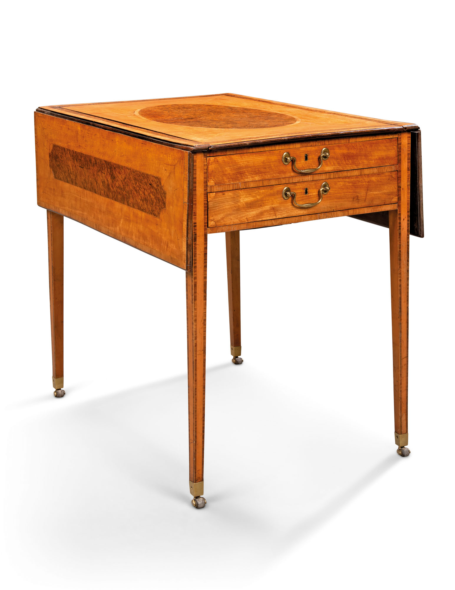 A GEORGE III SATINWOOD AND BURR-YEW HARLEQUIN PEMBROKE TABLE