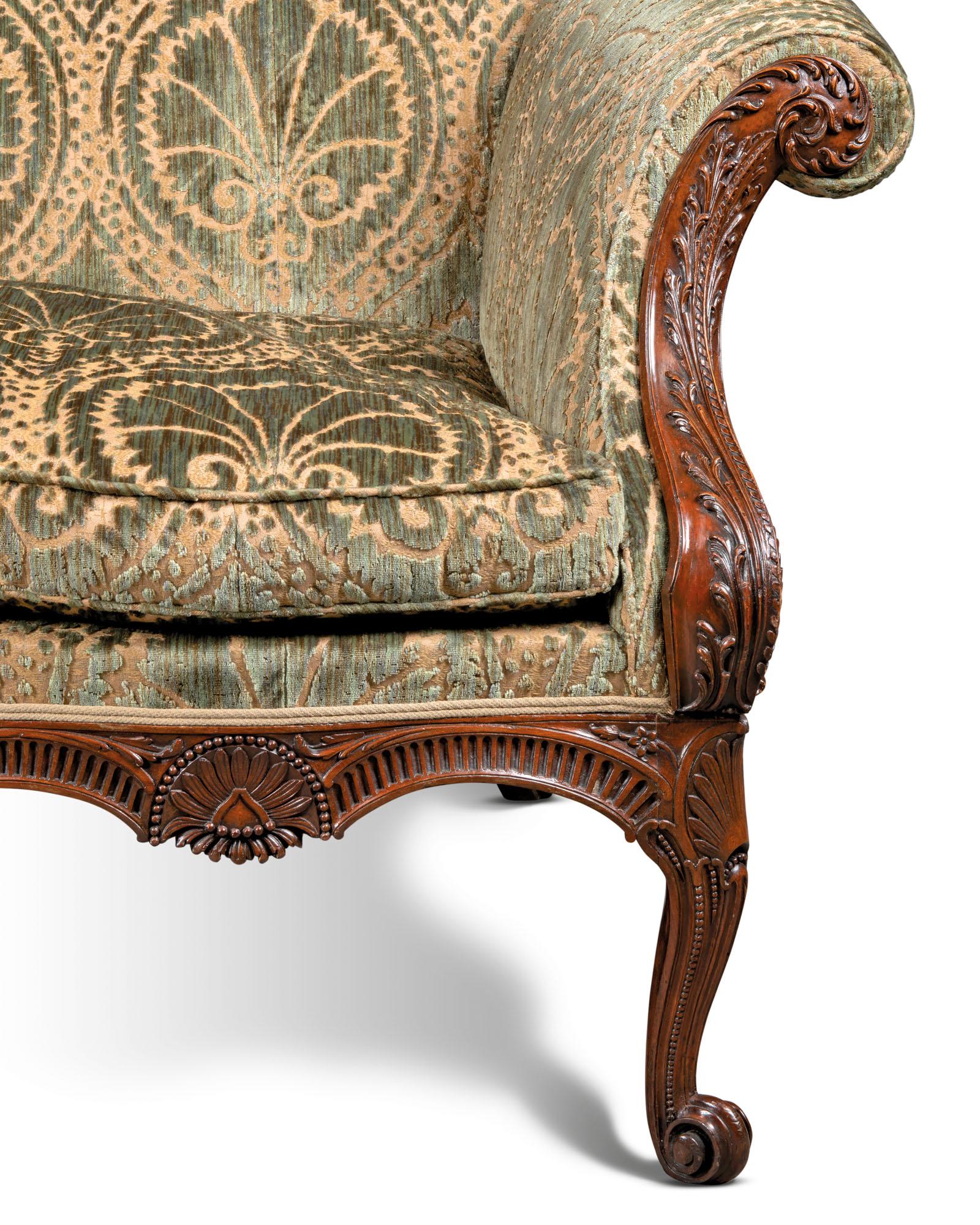 A GEORGE II FUSTIC AND SATINWOOD SOFA