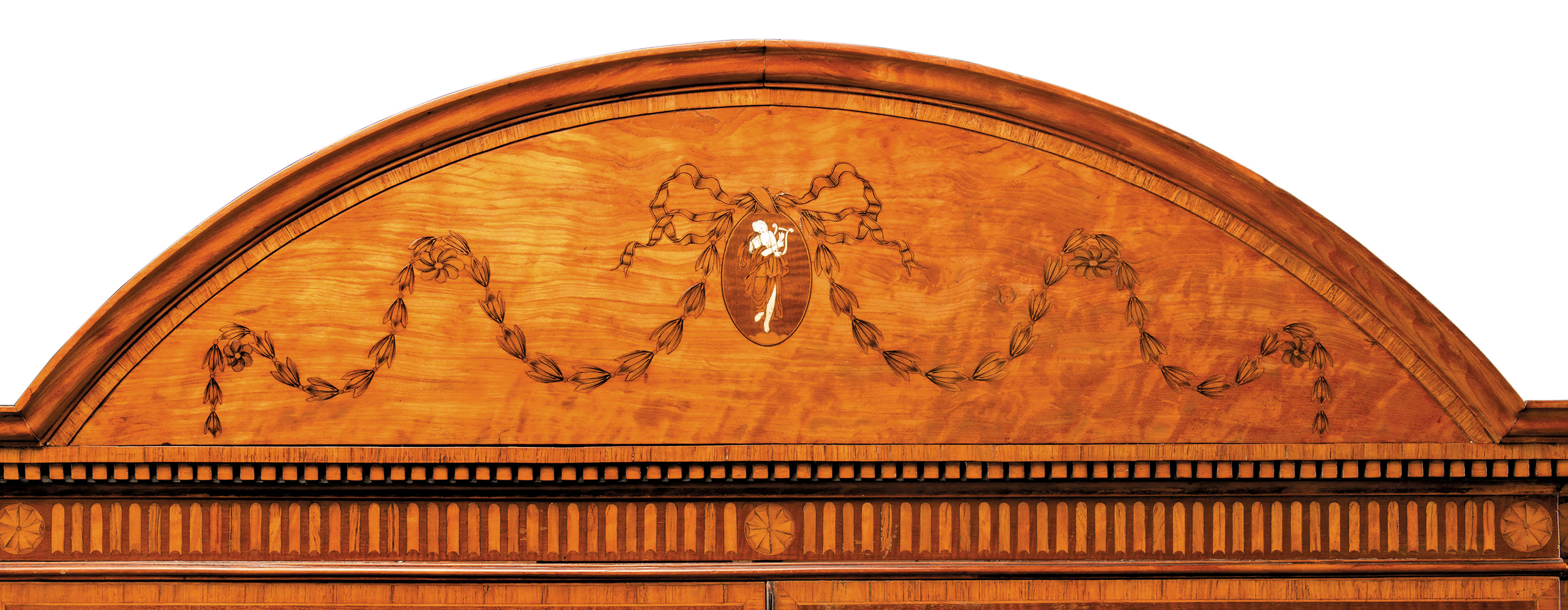 A GEORGE III SATINWOOD, HAREWOOD, BURR-YEW, TULIPWOOD AND MARQUETRY BREAKFRONT BOOKCASE