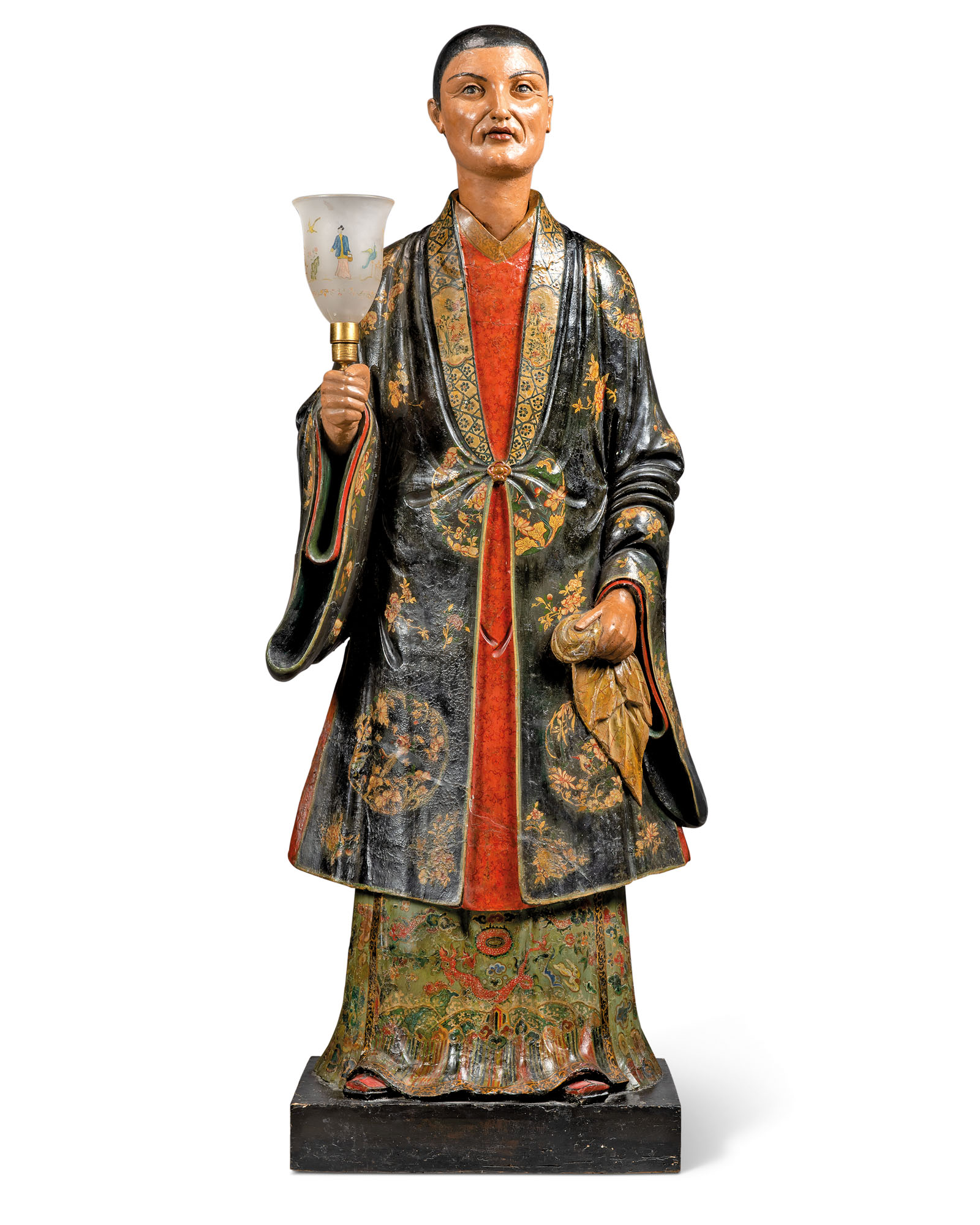 A REGENCY POLYCHROME-PAINTED PLASTER NODDING CHINESE FIGURE