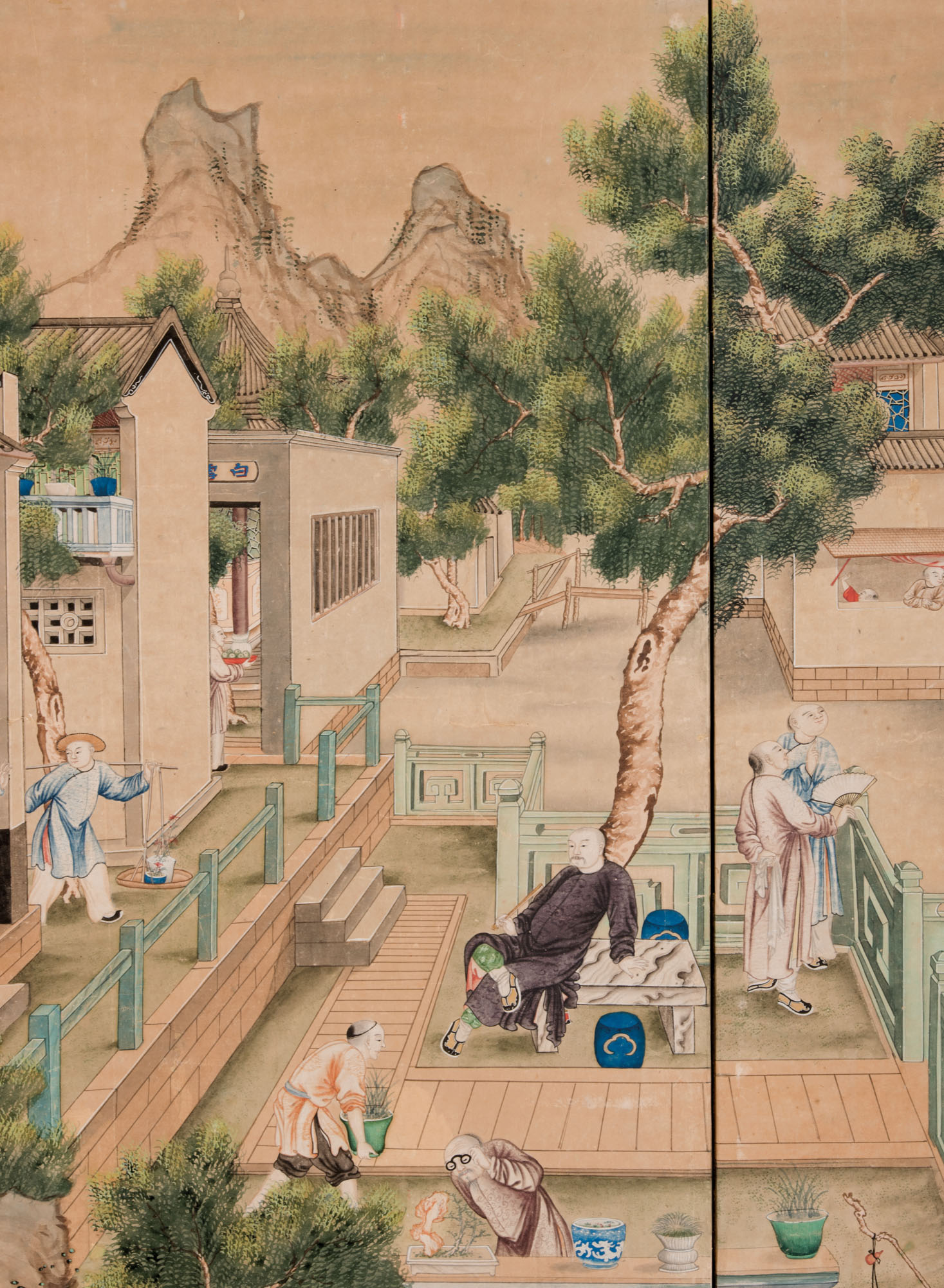 A CHINESE PAINTED WALLPAPER SIX-PANEL SCREEN