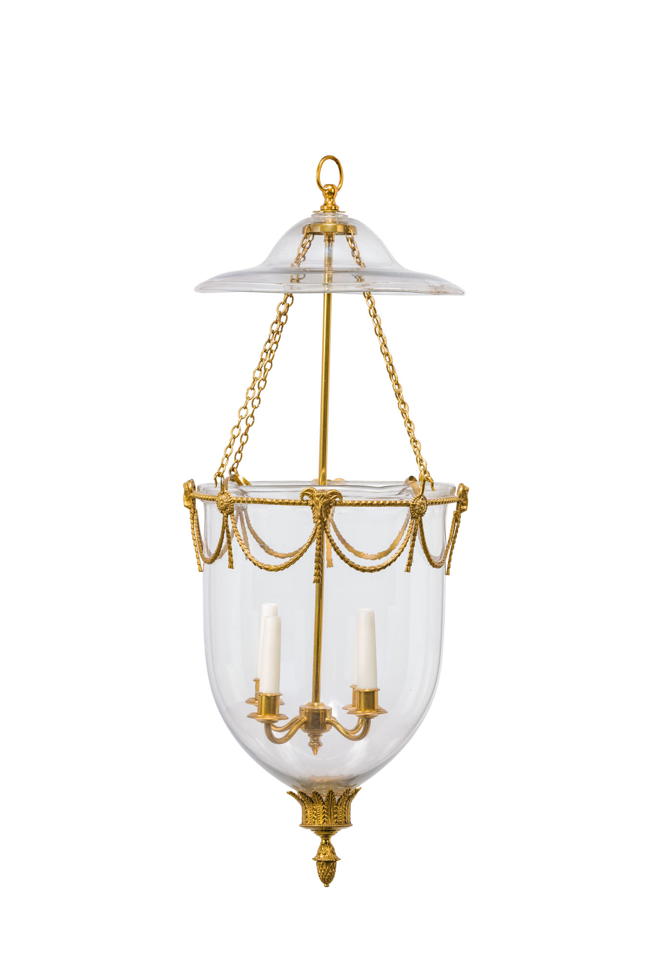 A GEORGE III-STYLE GILT-BRASS AND GLASS HANGING-LIGHT