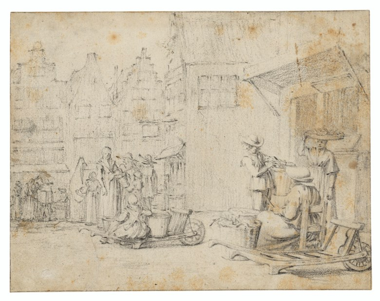 Gerard ter Borch II (1617-1681), Vegetable market day in a Dutch town. Black chalk, within black chalk framing lines. 6⅛ x 7⅞ in (15.5 x 19.9 cm). Estimate £150,000-250,000. Offered in Old Master and British Drawings and Watercolours including a Fine Collection of Old Master Prints on 6 July 2021 at Christie's in London