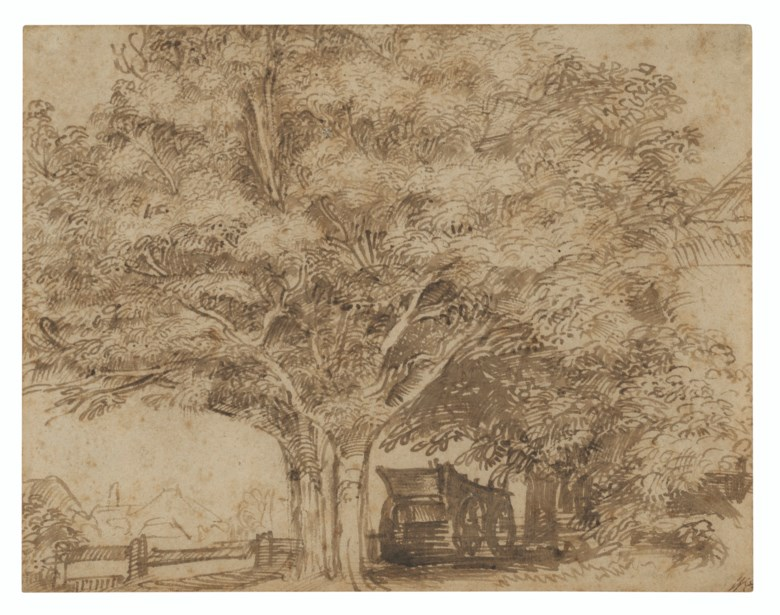 Jan Lievens (1607-1674), A haywain under trees, with farm buildings to the right and beyond at left. Pen and brown ink. 5⅞ x 7½ in (14.8 x 19 cm). Estimate £20,000-30,000. Offered in Old Master and British Drawings and Watercolours including a Fine Collection of Old Master Prints on 6 July 2021 at Christie's in London