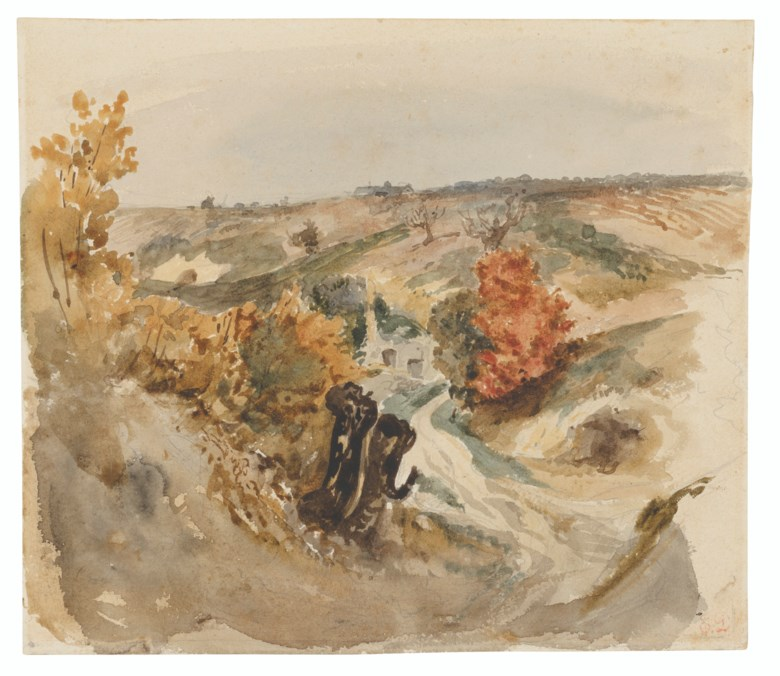 Ferdinand-Victor-Eugène Delacroix (1798-1863), Vineyards by a track and a farmhouse on a hill. Graphite, watercolour. 7⅞ x 9 in (20 x 22.8 cm). Estimate £35,000-45,000. Offered in Old Master and British Drawings and Watercolours including a Fine Collection of Old Master Prints on 6 July 2021 at Christie's in London