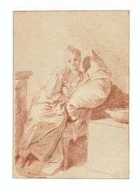 A young girl seated in an interior, leaning against a pillow ('La Jeune malade')