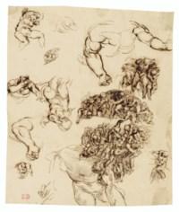 Studies of nude figures, after Michelangelo