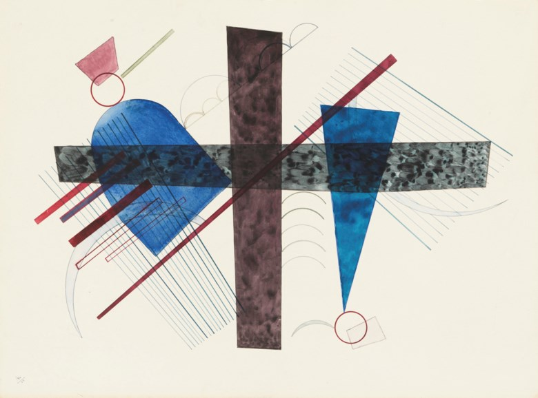 Wassily Kandinsky (1866-1944), Blau in Rund und Spitz, 1933. Watercolour on paper. 16½ x 22⅛ in (42.1 x 56.8 cm). Estimate £80,000-120,000. Offered in Impressionist and Modern Art Day and Works on Paper Sale on 1 July 2021 at Christie's in London