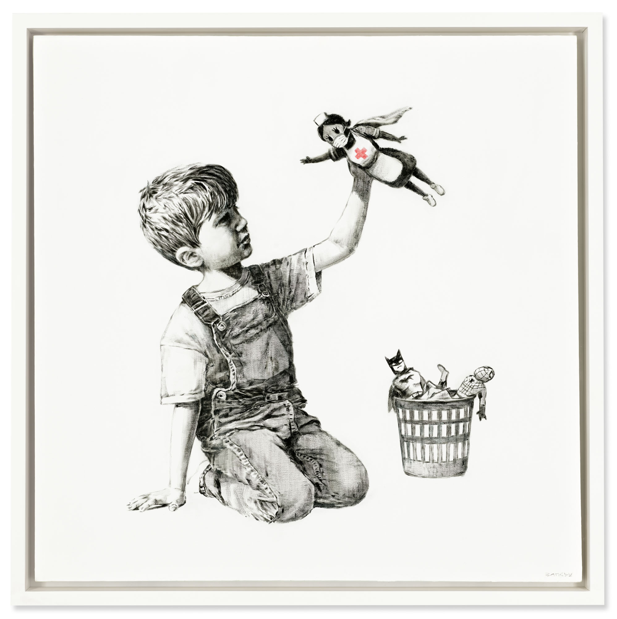 Banksy, Game Changer, 2020. Oil on canvas. 35⅞ x 35⅞ in (91 x 91 cm). Sold for £16,758,000 on 23 March 2021 at Christie's in London