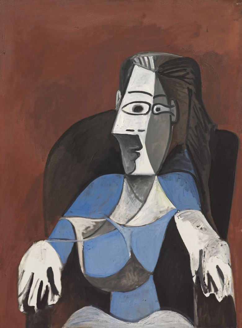Pablo Picasso (1881-1973), Femme assise dans un fauteuil noir (Jacqueline), 1962. Oil on canvas. 51¼ x 38½ in (130.4 x 97.8 cm). Sold for £9,659,000. Offered in 20th Century Evening Sale on 23 March 2021 at Christies in London