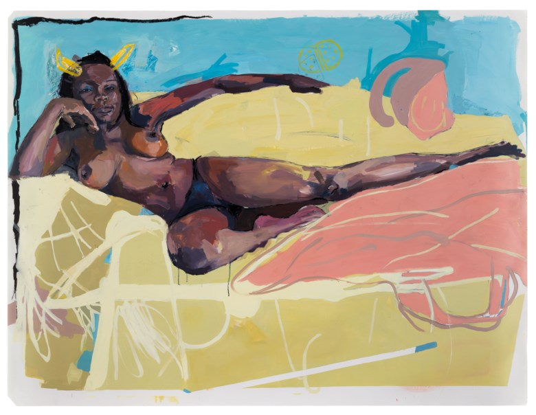 Kudzanai-Violet Hwami (b. 1993), Study Sisi Themba's Post Surgery, Harare General Hospital, 2050, 2016. Oil, charcoal and oilstick on paper.  59¼ x 78 ⅛in (150.4 x 198.5cm). Estimate £30,000-50,000. Offered in Post-War and Contemporary Art Day Sale on 25 March 2021 at Christies in London