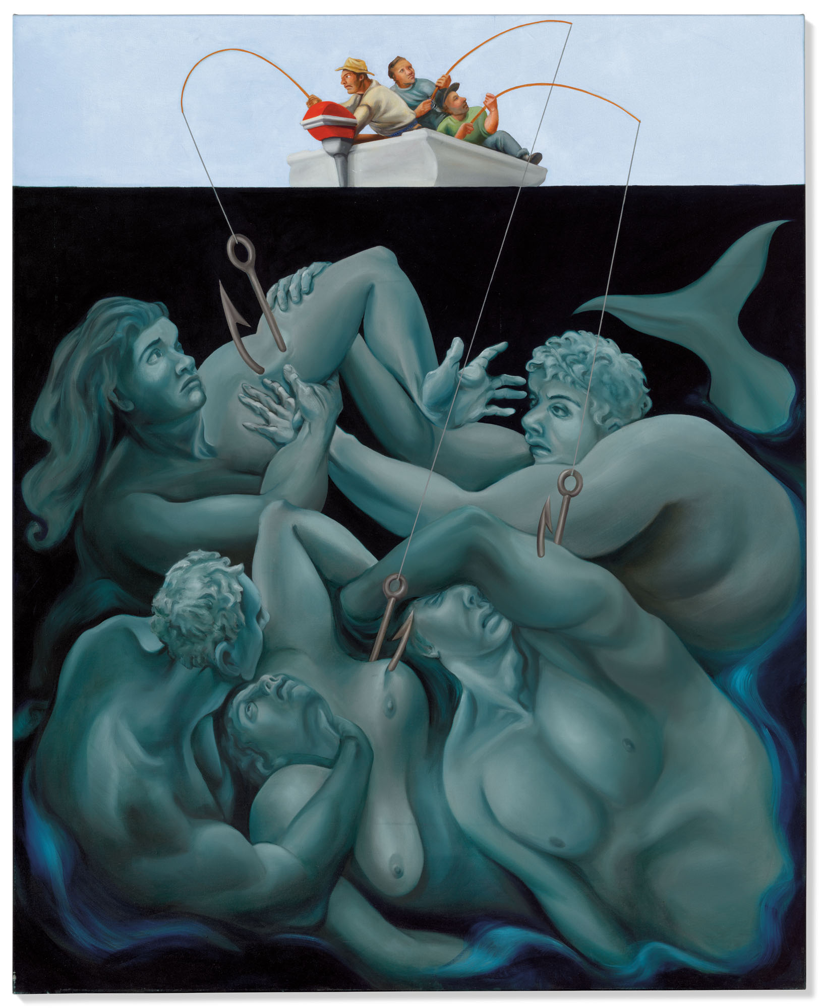 Nicole Eisenman (b. 1965), Mermaid Catch, 1996. Oil on canvas. 77½ x 63 in (196.8 x 160 cm). Estimate £400,000-600,000. Offered in Post-War and Contemporary Art Day Sale on 25 March 2021 at Christies in London