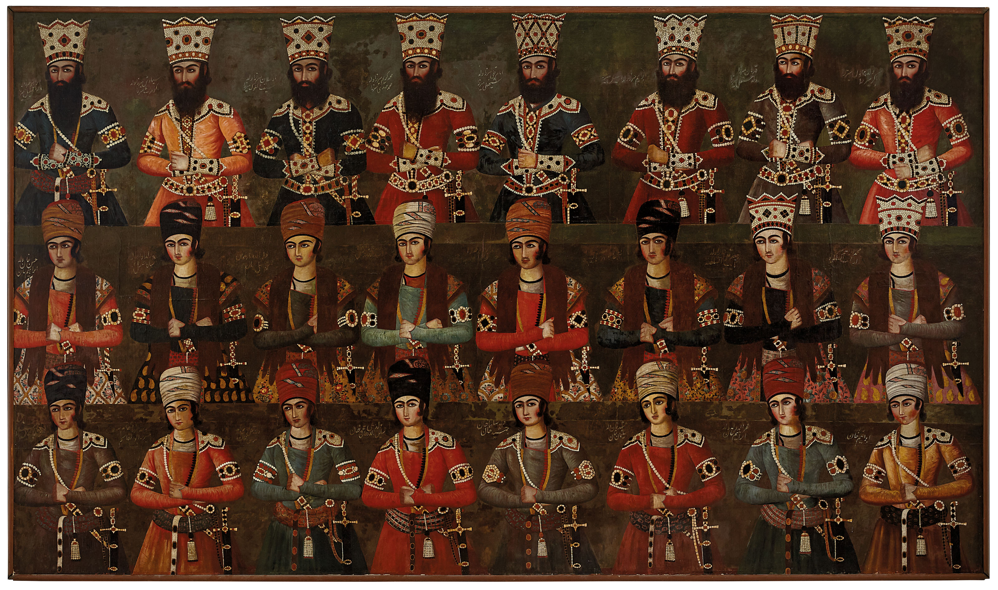 A magnificent Qajar group portrait, attributable To 'Abdallah Khan Naqqashbashi (active 1800-1850), Tehran or environs, Iran, circa 1810-20.101 x 174 in (256.5 x 442 cm). Estimate £1,000,000-1,500,000. Offered inArt of the Islamic and Indian Worlds including Oriental Rugs and Carpetson 1 April 2021 at Christie's in London