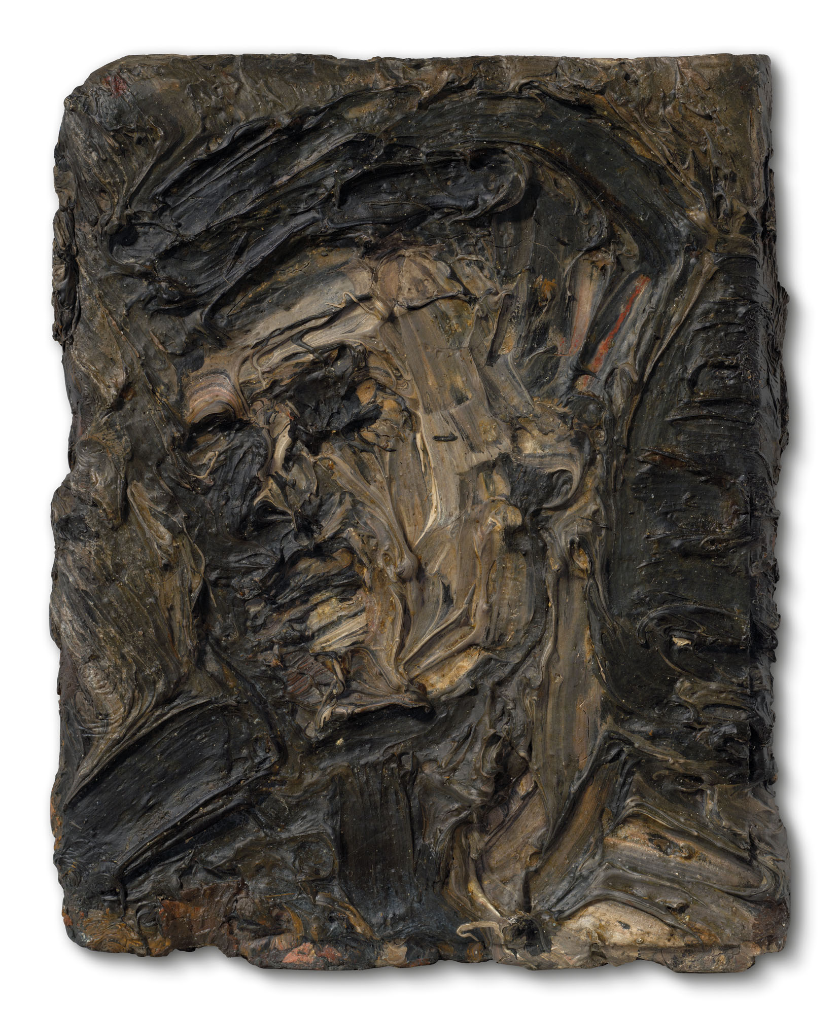 Leon Kossoff (1926-2019), Head of Frank Auerbach, 1956. Oil on board. 7½ x 6 in (19 x 15.3 cm). Estimate £100,000-150,000. Offered in the Modern British Art Evening Sale on 1 March 2021 at Christie's in London