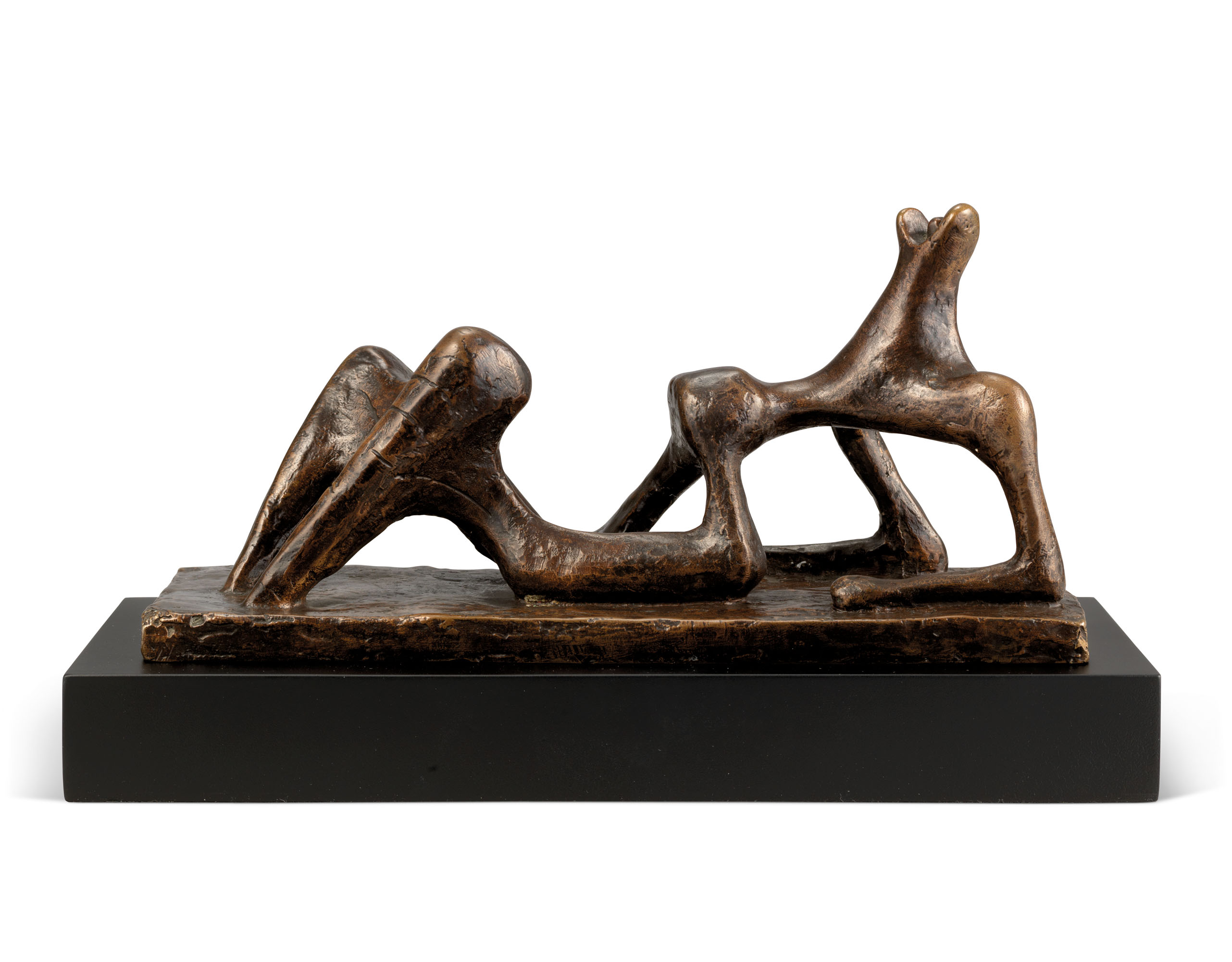 Henry Moore (1898-1986), Small Maquette No. 2 for Reclining Figure, conceived in 1950 and cast in 1965. Bronze with a dark brown patina. 9¼ in (23.5 cm) long. Estimate £200,000-300,000. Offered inModern British Art Evening Saleon1 March at Christie's in London