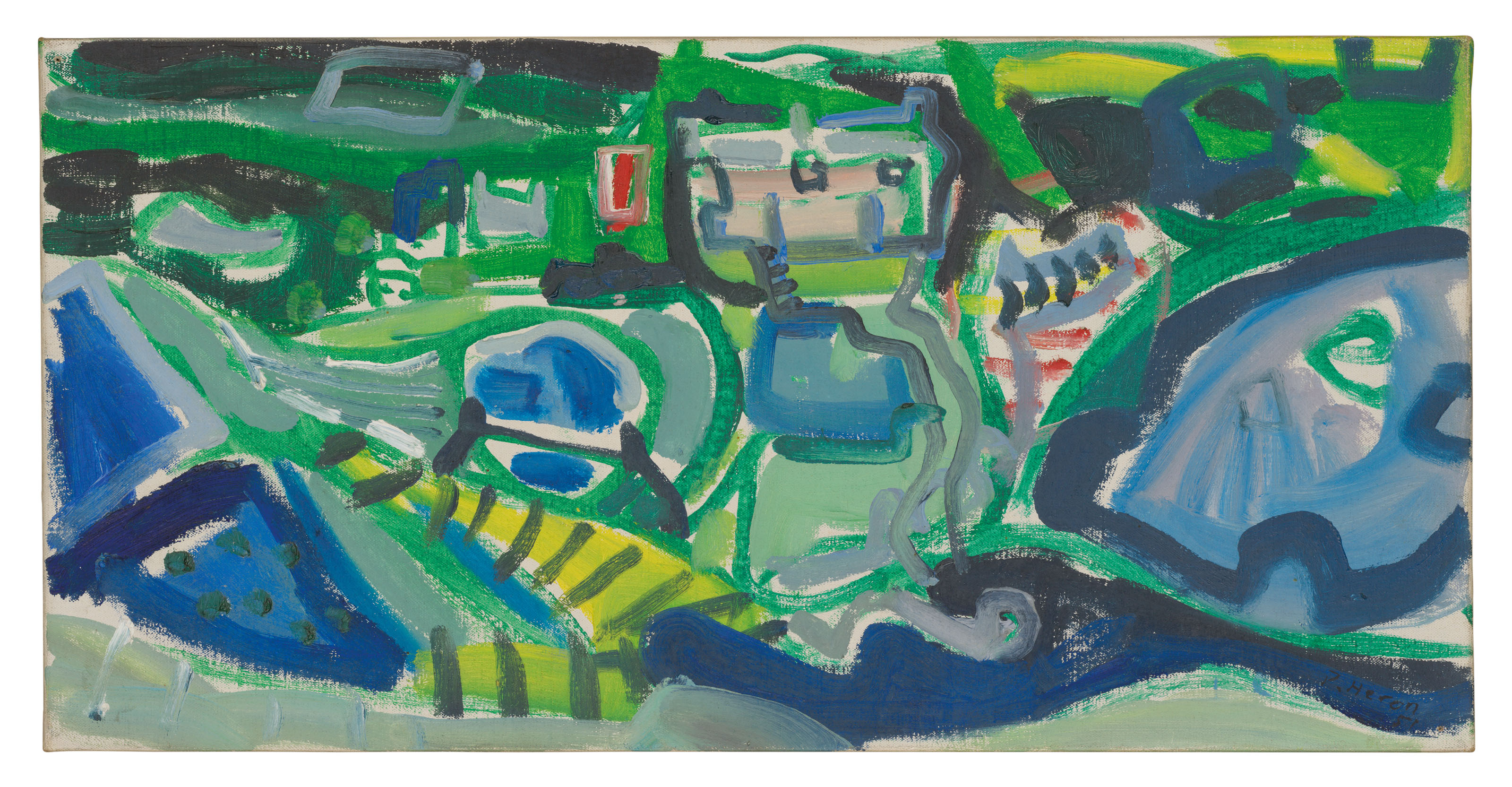 Patrick Heron (1920-1999), Valley Bottom, Porthgwarra 1951, 1951. Oil on canvas. 11 x 22 in (27.9 x 55.9 cm). Estimate £40,000-60,000. Offered inModern British Art Day Sale, 2 March at Christie's London