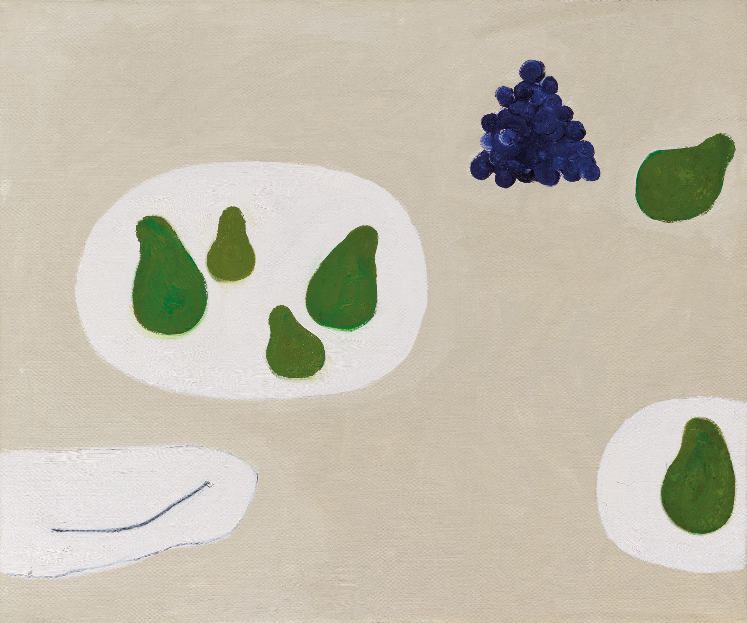 William Scott, R.A. (1913-1989),Six Pears and Grapes, 1974. Oil on canvas. 25 x 30 in (63.5 x 76.2 cm). Estimate £80,000-120,000. Offered inModern British Art Day Sale, 2 March at Christie's London