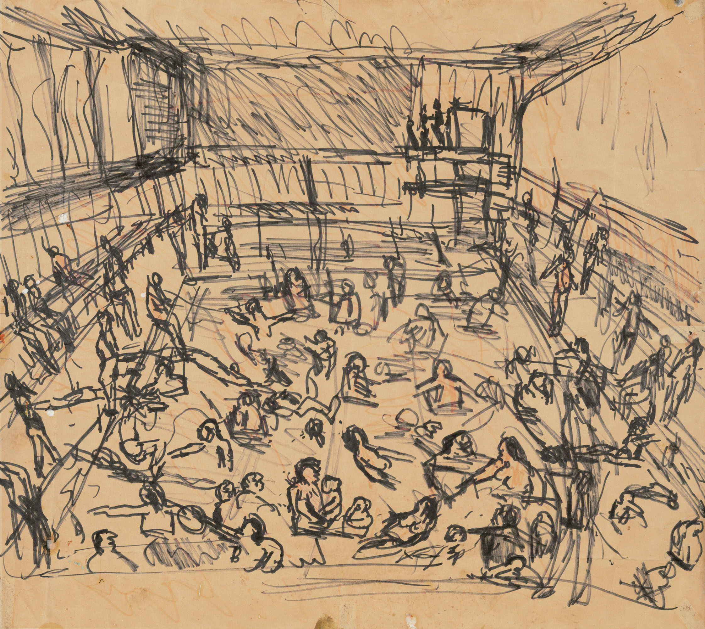 Leon Kossoff (1926-2019), Children's Swimming Pool, circa 1970-72. Felt-tip pen on paper. 23⅜ x 26 in (59.4 x 66 cm). Estimate £20,000-30,000. Offered in the Modern British Art Day Sale on 2 March 2021 at Christie's in London