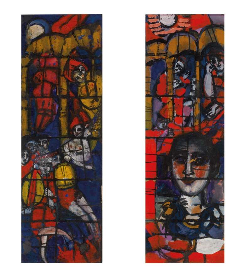Pauline Boty (1938-1966), Designs for stained glass window, 1958. Gouache on paper. 9¼ x 3 in (23.5 x 7.6 cm) each. Estimate £7,000-10,000. Offered in the Modern British Art Day Sale on 2 March 2021 at Christies in London