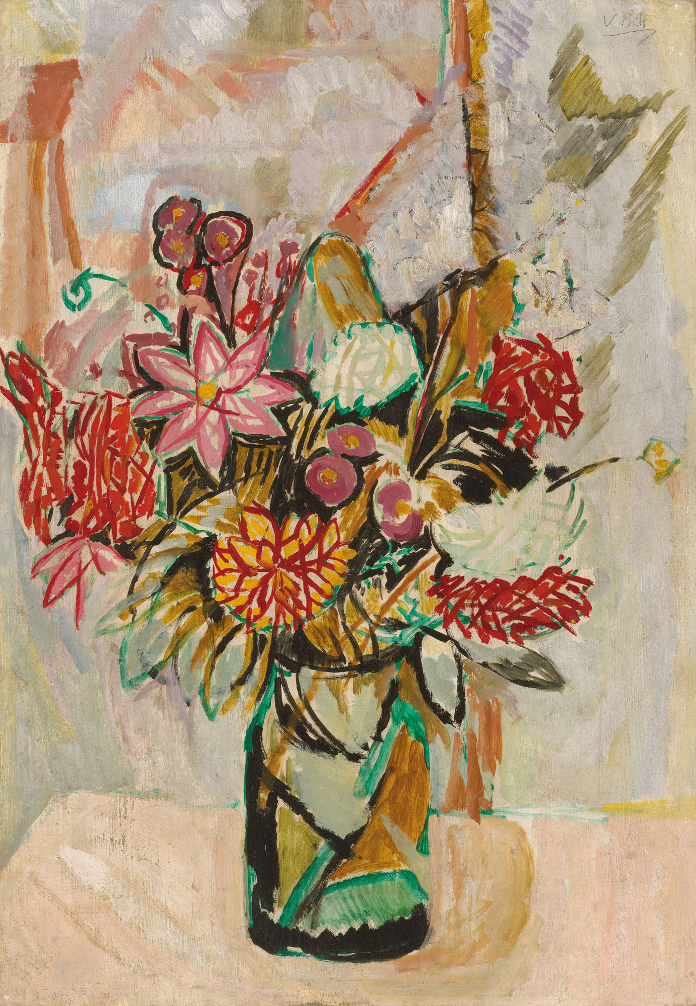 Vanessa Bell (1879-1961),Autumn Bouquet, 1912. Oil on board laid on panel. 28¾ x 20⅜ in (73 x 51.7 cm). Estimate £25,000-35,000. Offered in the Modern British Art Day Saleon 2 March 2021at Christie's in London