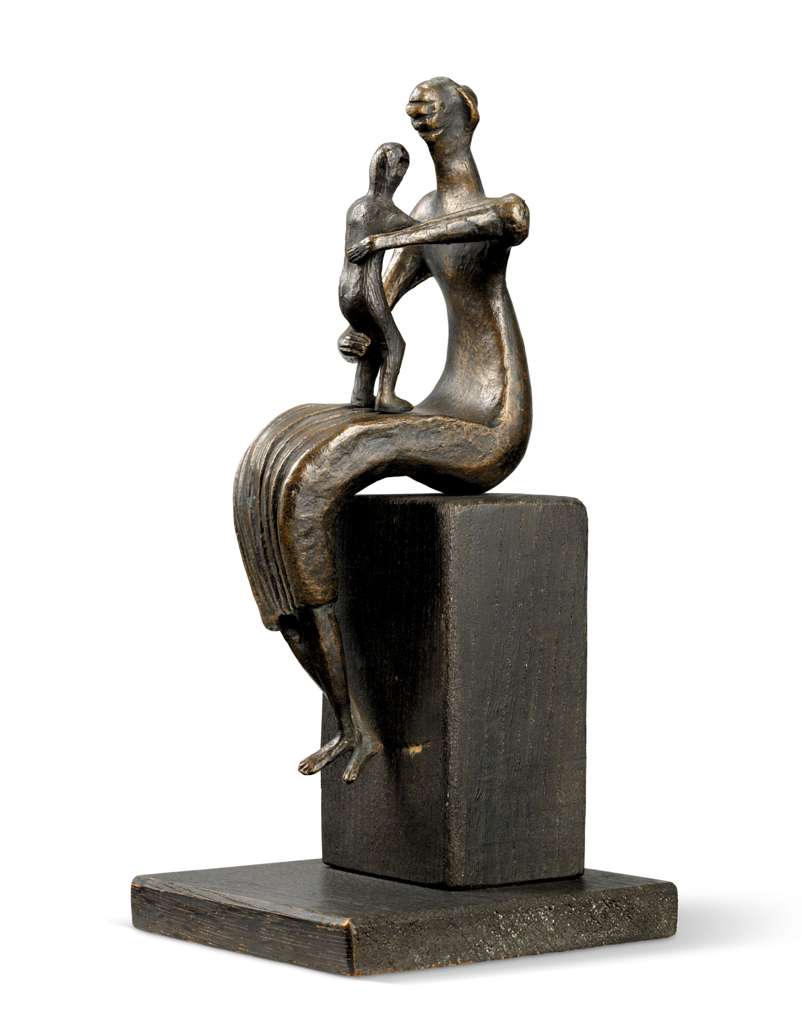 Henry Moore (1898-1986),Mother and Child Crossed Feet, conceived in 1956 and cast in 1957. Bronze with a dark brown patina, on a black painted wooden base 8½ in (21.6 cm) high. Estimate £200,000-300,000. Offered inModern British Art Day Saleon 2 March at Christie's inLondon