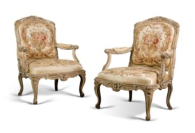 A PAIR OF LOUIS XV PARCEL-GILT AND CREAM-PAINTED FAUTEUILS