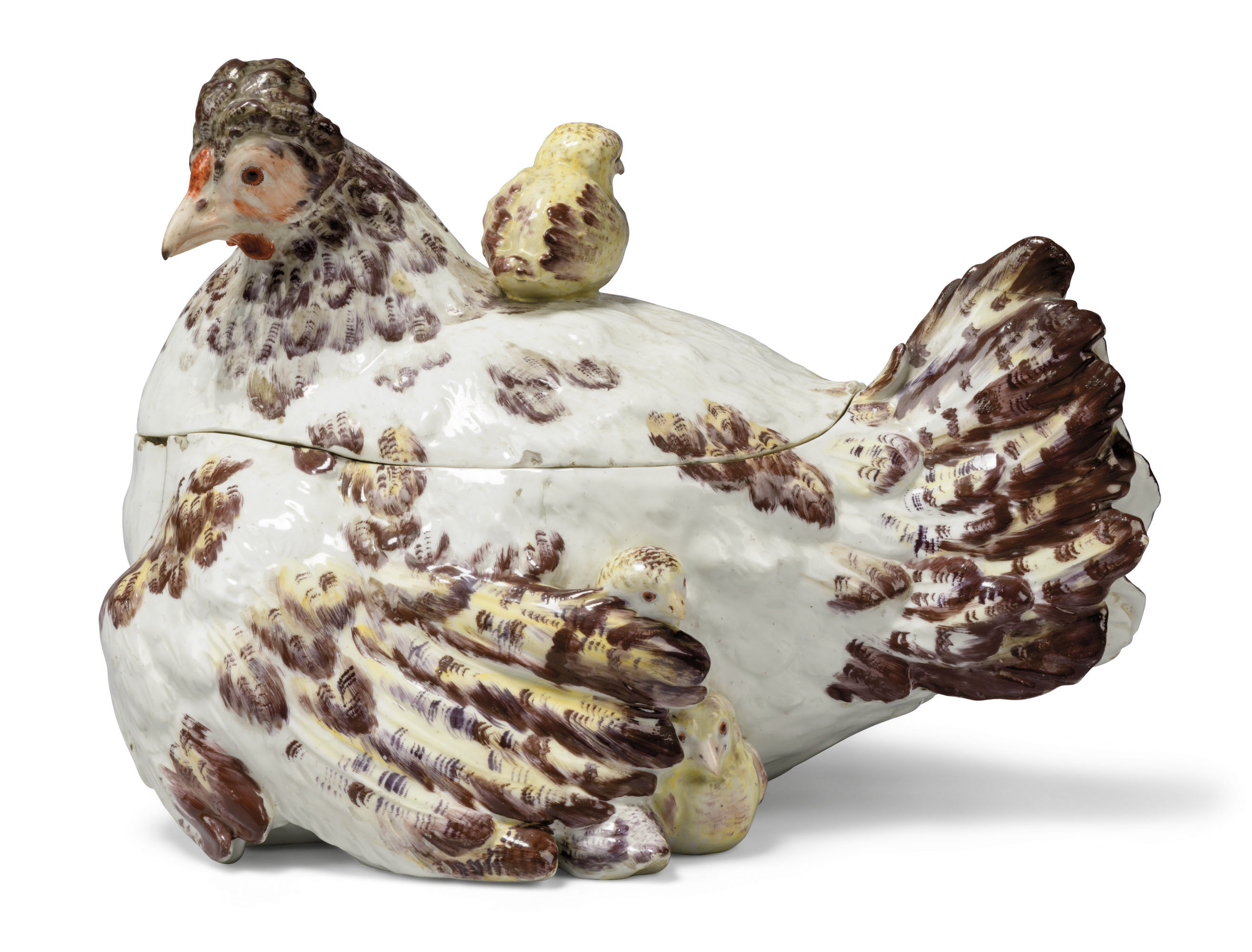 A Chelsea porcelain 'hen and chicks' tureen and cover, circa 1755. 14¼  in (36.2  cm) wide; 10  in (25.4  cm) high. Estimate £40,000-80,000. Offered inThe Collector Liveon 19 May 2021 at Christie's in London