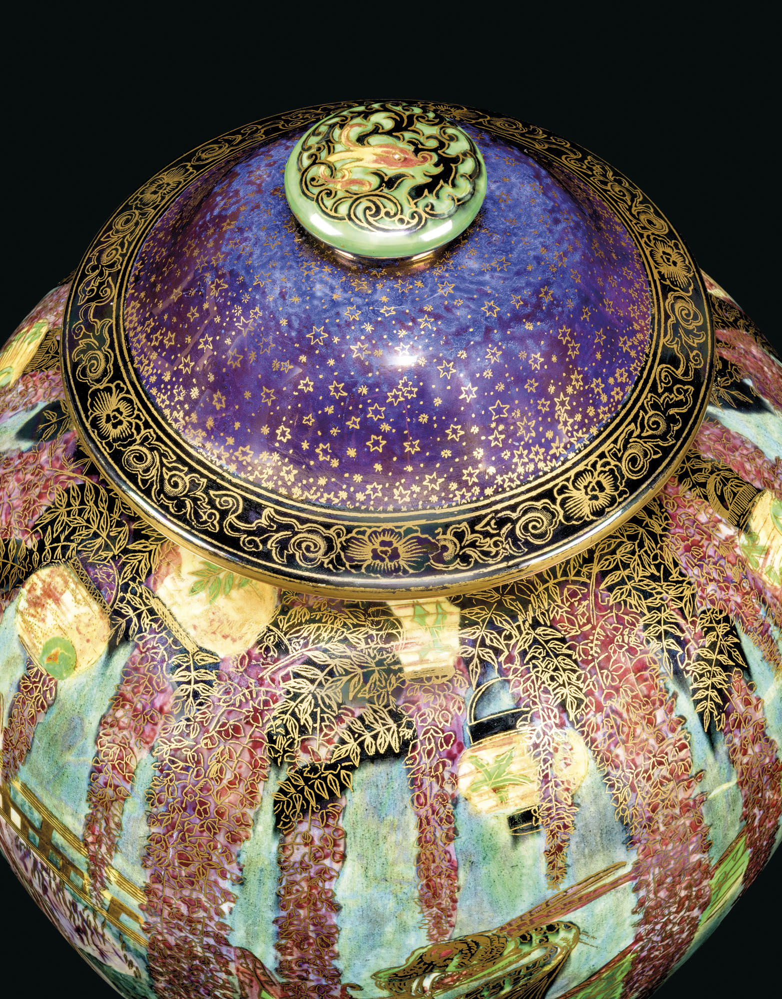 A LARGE WEDGWOOD FAIRYLAND LUSTRE 'TEMPLE ON A ROCK' VASE AND COVER