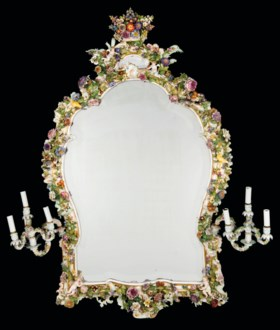 A MONUMENTAL MEISSEN PORCELAIN FLOWER-ENCRUSTED MIRROR FRAME