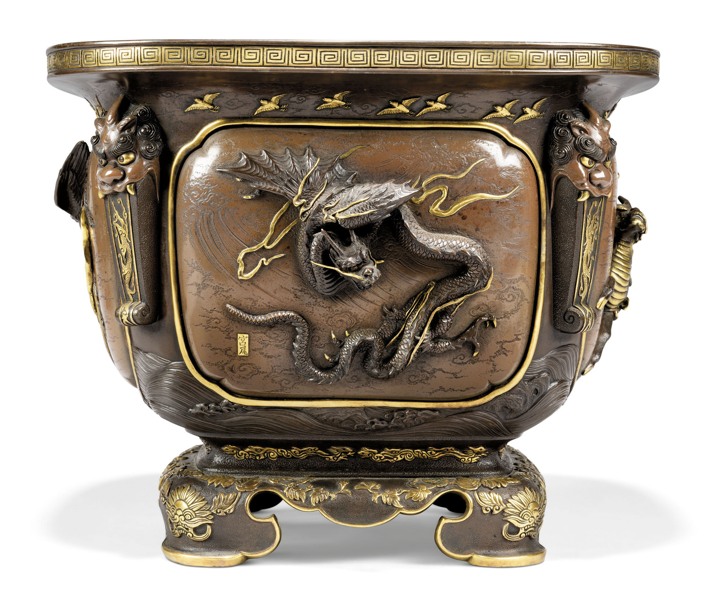 A JAPANESE GILT AND PATINATED-BRONZE JARDINIERE