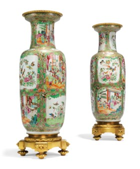 A PAIR OF FRENCH ORMOLU-MOUNTED CHINESE FAMILLE ROSE PORCELA