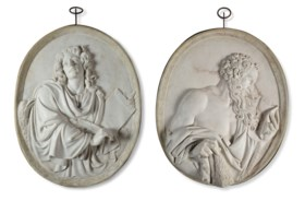 A PAIR OF MARBLE PORTRAIT RELIEFS OF ST JAMES THE LESS AND S