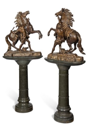 A PAIR OF LARGE FRENCH GILT AND PATINATED-BRONZE MODELS OF T