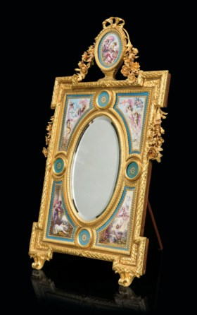 A FRENCH SEVRES-STYLE PORCELAIN AND ORMOLU VANITY MIRROR