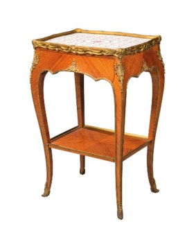 A FRENCH ORMOLU AND PORCELAIN-MOUNTED WALNUT TABLE A CAFE