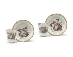 A PAIR OF CAPODIMONTE (CARLO III) PORCELAIN COFFEE-CUPS AND