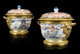 A PAIR OF FRENCH ORMOLU-MOUNTED IMARI PORCELAIN VASES AND CO