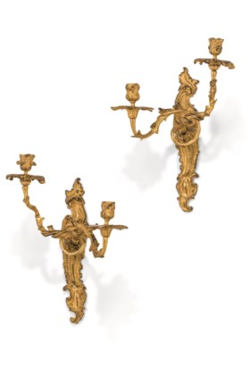 A PAIR OF FRENCH ORMOLU TWIN-BRANCH WALL-LIGHTS
