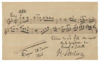 Autograph musical quotation from Roméo et Juliette signed ('H. Berlioz'), Prague, 28 January 1846.