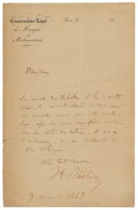 Autograph letter signed ('H. Berlioz') to [the Societé des Concerts de l'Union Musicale] ('Messieurs'), Paris, 9 December 1849.